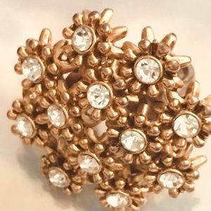 Floral cluster ring crystal vintage Betsey Johnson